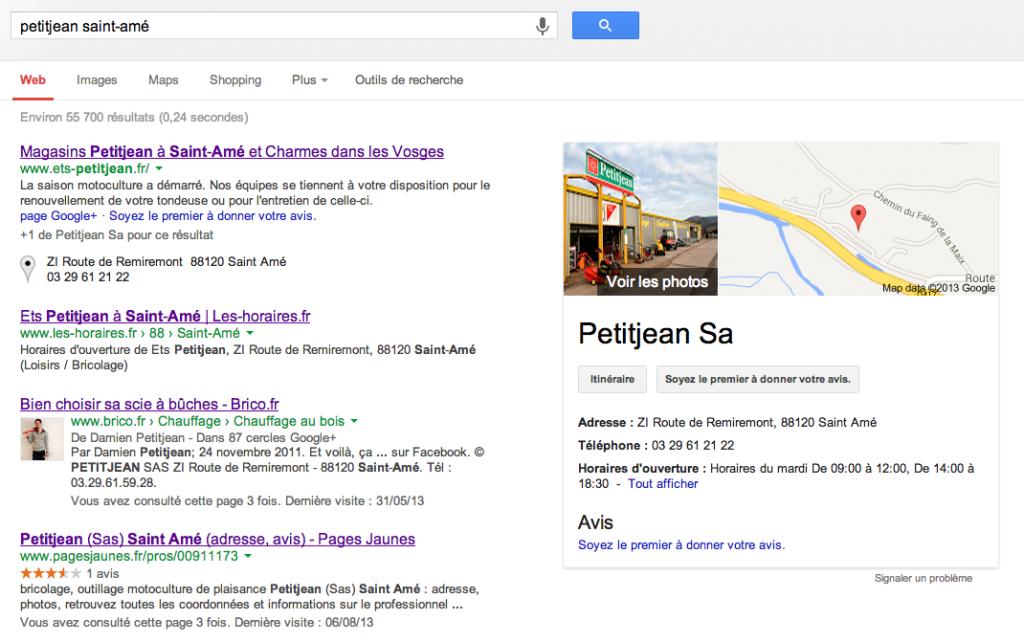 Petitjean Saint-Amé sur Google